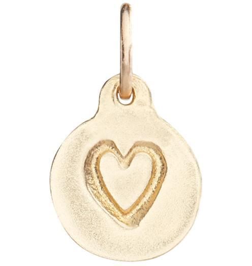 Small Heart Disk Charm - 14k Yellow Gold - Jewelry - Helen Ficalora - 1