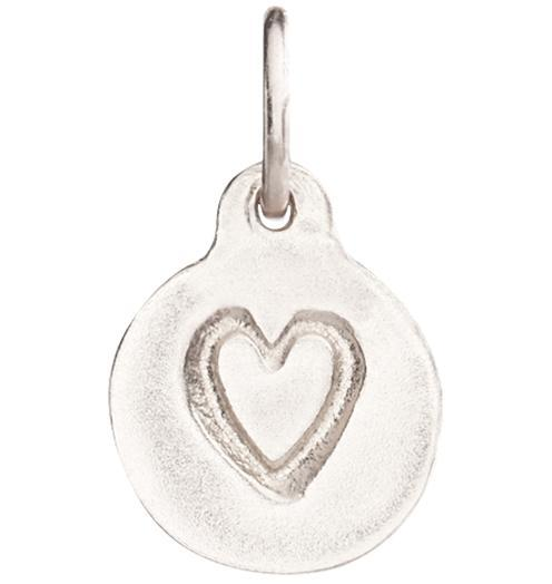 Small Heart Disk Charm - 14k White Gold - Jewelry - Helen Ficalora - 2