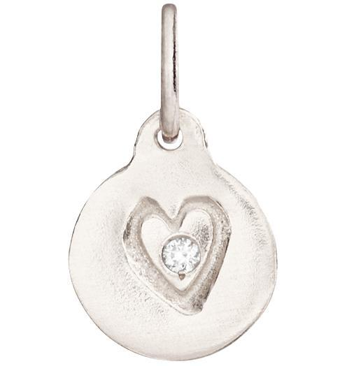 Small Heart Disk Charm With Diamond - 14k White Gold - Jewelry - Helen Ficalora - 2