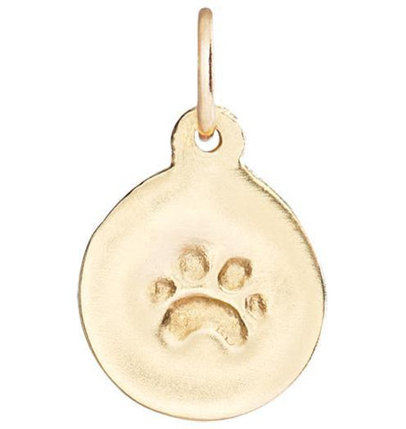 Small Paw Print Disk Charm - 14k Yellow Gold - Jewelry - Helen Ficalora - 1