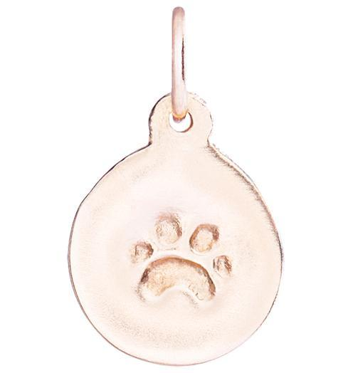 Small Paw Print Disk Charm Jewelry Helen Ficalora 14k Pink Gold