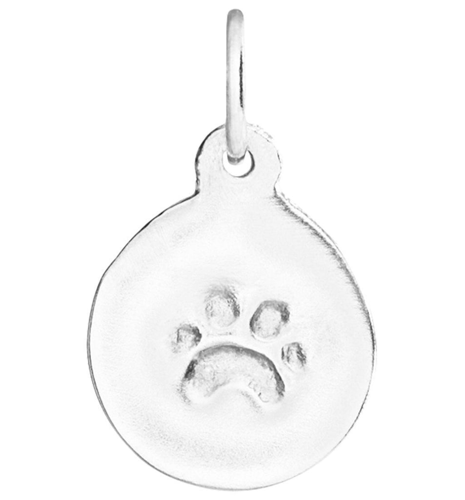 Small Paw Print Disk Charm Jewelry Helen Ficalora Sterling Silver