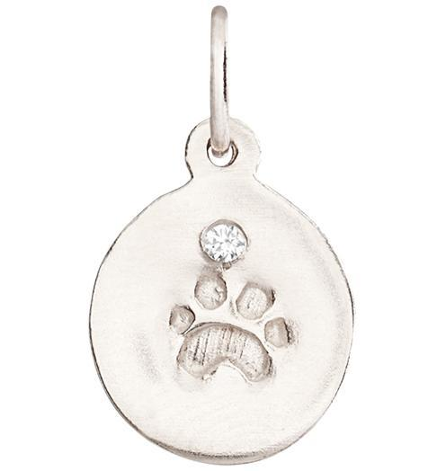 Small Paw Print Disk Charm With Diamond - 14k White Gold - Jewelry - Helen Ficalora - 2