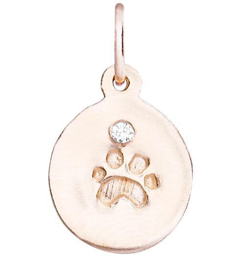 Small Paw Print Disk Charm With Diamond - 14k Pink Gold - Jewelry - Helen Ficalora - 3