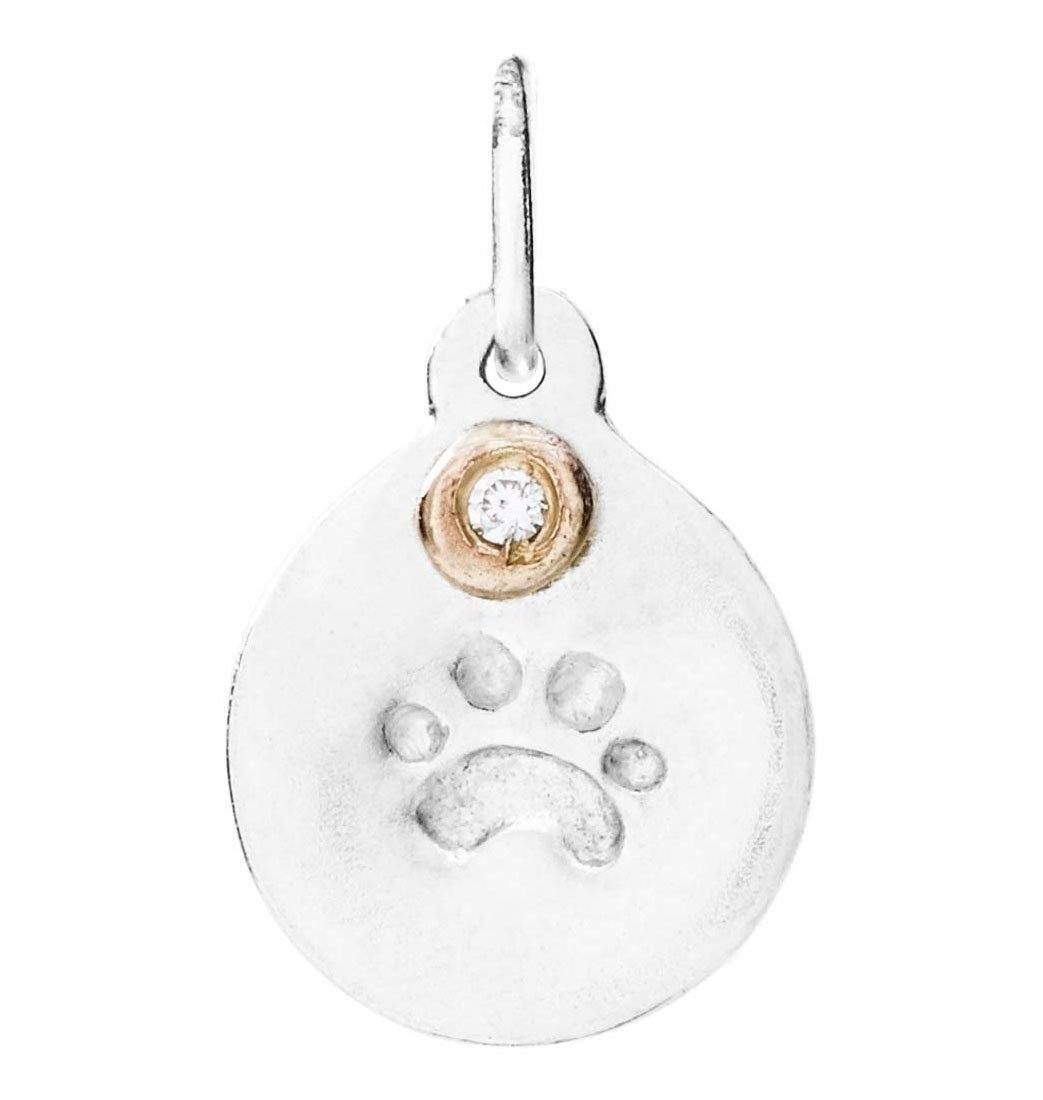 Small Paw Print Disk Charm With Diamond Jewelry Helen Ficalora Sterling Silver For Necklaces And Bracelets