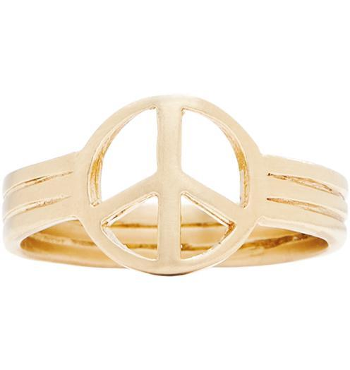Small Peace Sign Ring - 14k Yellow Gold - Jewelry - Helen Ficalora - 1