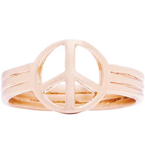 Small Peace Sign Ring - 14k Pink Gold / 5 - Jewelry - Helen Ficalora - 2