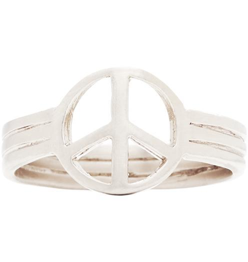 Small Peace Sign Ring - 14k White Gold / 5 - Jewelry - Helen Ficalora - 3