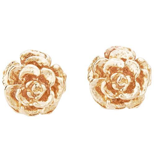 Small Tea Rose Stud Earrings - 14k Yellow Gold - Jewelry - Helen Ficalora - 1