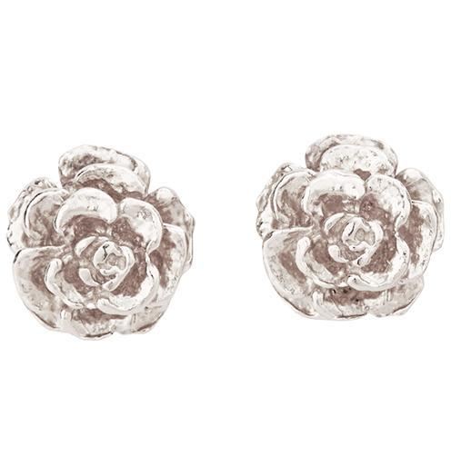 Small Tea Rose Stud Earrings - 14k White Gold - Jewelry - Helen Ficalora - 2