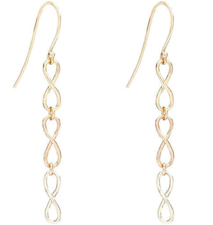 Small Tri Color Infinity Dangle Earrings Jewelry Helen Ficalora 14k Yellow, White and Pink Gold