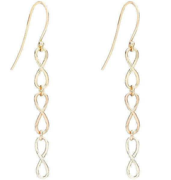 Jewelry - Small Tri Color Infinity Dangle Earrings