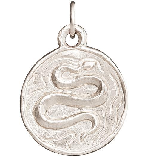 Snake Coin Charm - 14k White Gold - Jewelry - Helen Ficalora - 2