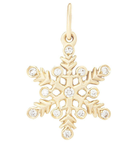 Snowflake Mini Charm Pavé Diamonds Jewelry Helen Ficalora 14k Yellow Gold For Necklaces And Bracelets