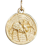 Spider Coin Charm - 14k Yellow Gold - Jewelry - Helen Ficalora - 1