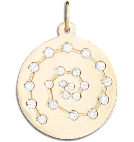 Spiral Charm Pavé Diamonds Jewelry Helen Ficalora 14k Yellow Gold