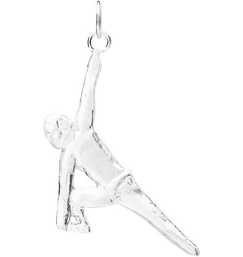 Standing Triangle Pose Yoga Charm - Sterling Silver - Jewelry - Helen Ficalora - 1