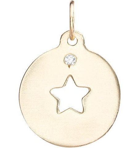 Star Cutout Charm with Diamond Jewelry Helen Ficalora 14k Yellow Gold For Necklaces And Bracelets