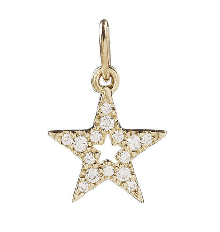 Star Mini Charm With Pavé Diamonds Jewelry Helen Ficalora 14k Yellow Gold