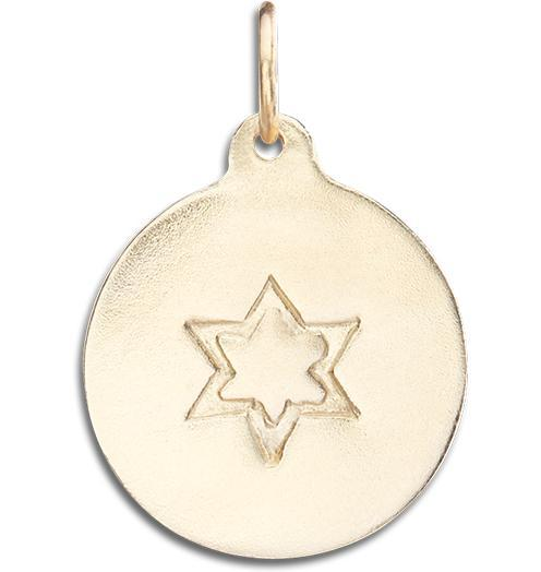 Star of David Disk Charm - 14k Yellow Gold - Jewelry - Helen Ficalora - 1