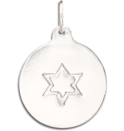 Star of David Disk Charm - 14k White Gold - Jewelry - Helen Ficalora - 2