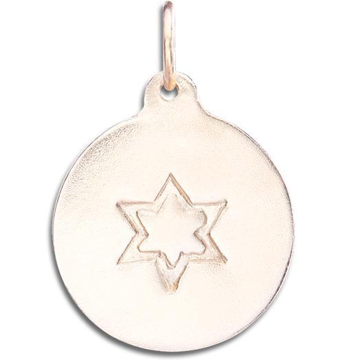 Star of David Disk Charm - 14k Pink Gold - Jewelry - Helen Ficalora - 3