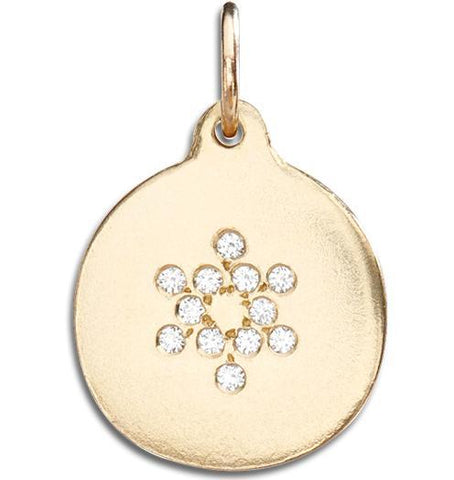 Star of David Disk Charm Pave Diamonds - 14k Yellow Gold - Jewelry - Helen Ficalora - 1