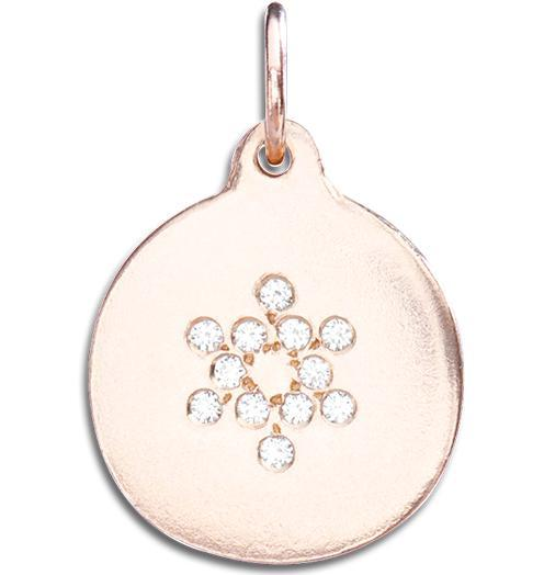 Star of David Disk Charm Pave Diamonds - 14k Pink Gold - Jewelry - Helen Ficalora - 2