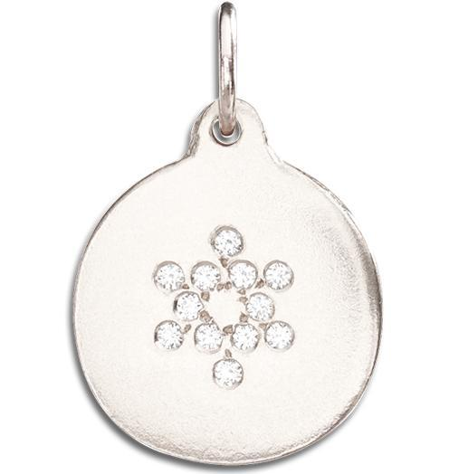 Star of David Disk Charm Pave Diamonds - 14k White Gold - Jewelry - Helen Ficalora - 3