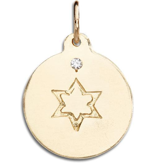 Star of David Disk Charm With Diamond - 14k Yellow Gold - Jewelry - Helen Ficalora - 1