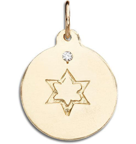 Star of David Disk Charm With Diamond Jewelry Helen Ficalora 14k Yellow Gold