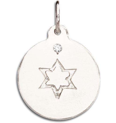 Star of David Disk Charm With Diamond - 14k White Gold - Jewelry - Helen Ficalora - 2