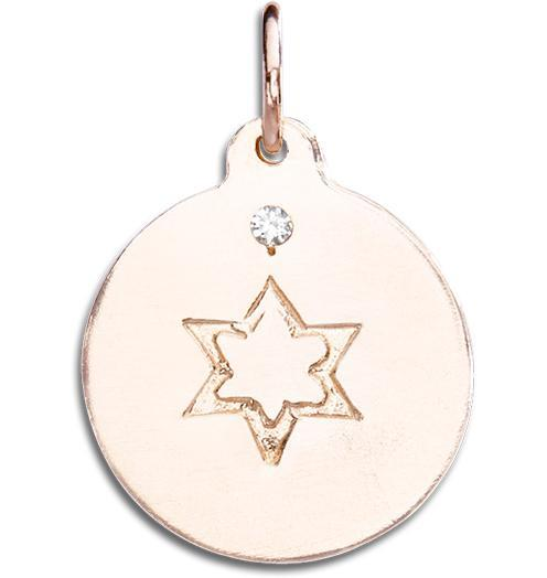 Star of David Disk Charm With Diamond - 14k Pink Gold - Jewelry - Helen Ficalora - 3