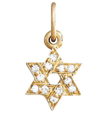 Star of David Mini Charm Pave Diamonds - 14k Yellow Gold - Jewelry - Helen Ficalora - 1
