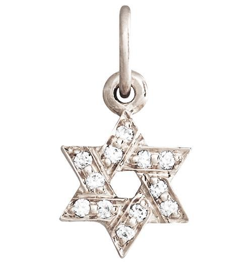 Star of David Mini Charm Pave Diamonds - 14k White Gold - Jewelry - Helen Ficalora - 2