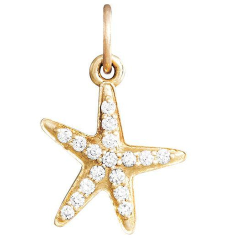 Starfish Mini Charm Pave Diamonds - 14k Yellow Gold - Jewelry - Helen Ficalora - 1