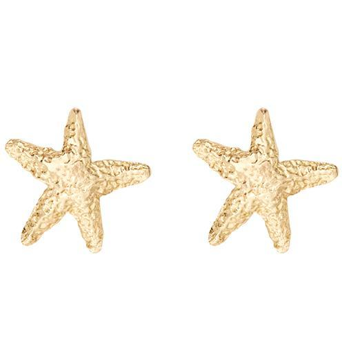 Starfish Stud Earrings - 14k Yellow Gold - Jewelry - Helen Ficalora - 1