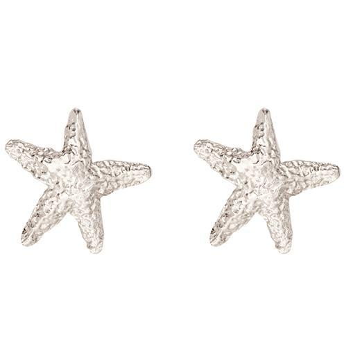 Starfish Stud Earrings - 14k White Gold - Jewelry - Helen Ficalora - 2