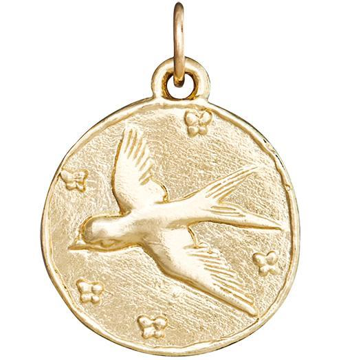 Swallow Coin Charm - 14k Yellow Gold - Jewelry - Helen Ficalora - 1