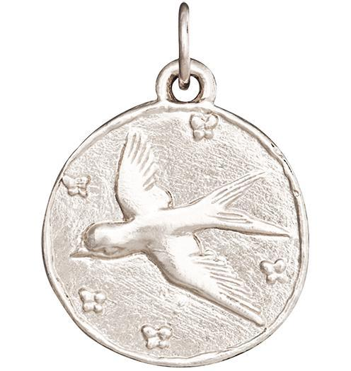 Swallow Coin Charm - 14k White Gold - Jewelry - Helen Ficalora - 2