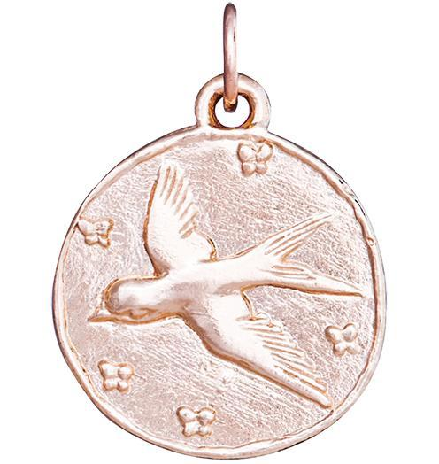 Swallow Coin Charm - 14k Pink Gold - Jewelry - Helen Ficalora - 3