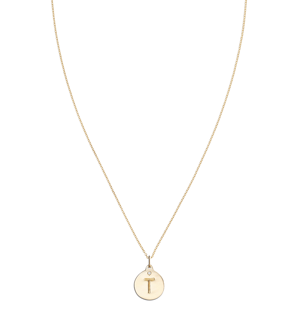 """T"" Alphabet Charm With Diamond -  - Jewelry - Helen Ficalora - 5"