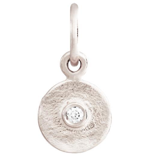 Tiny Disk Charm With Diamond - 14k White Gold - Jewelry - Helen Ficalora - 2