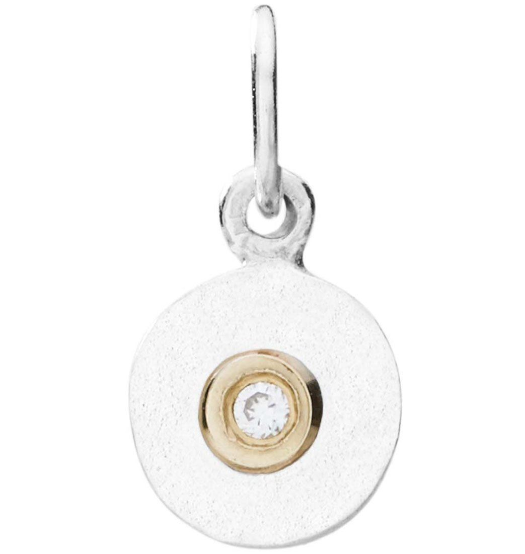 Tiny Disk Charm With Diamond Jewelry Helen Ficalora Sterling Silver For Necklaces And Bracelets