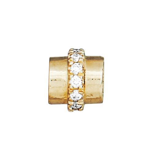 Tube Spacer Pave Diamonds - 14k Yellow Gold - Jewelry - Helen Ficalora - 1