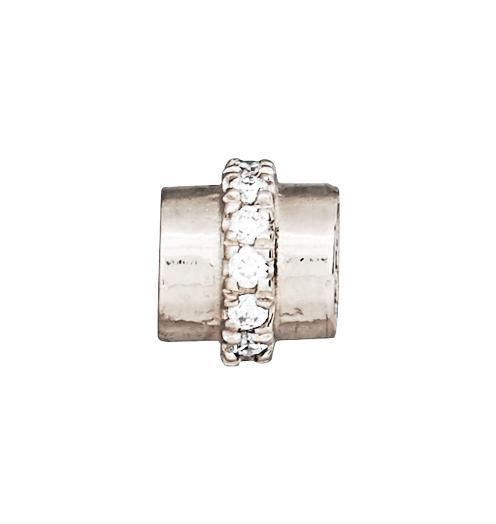 Tube Spacer Pave Diamonds - 14k White Gold - Jewelry - Helen Ficalora - 2