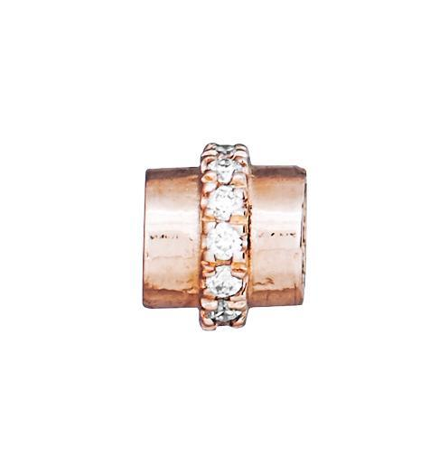 Tube Spacer Pave Diamonds - 14k Pink Gold - Jewelry - Helen Ficalora - 3