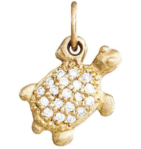 Turtle Mini Charm Pave Diamonds - 14k Yellow Gold - Jewelry - Helen Ficalora - 1
