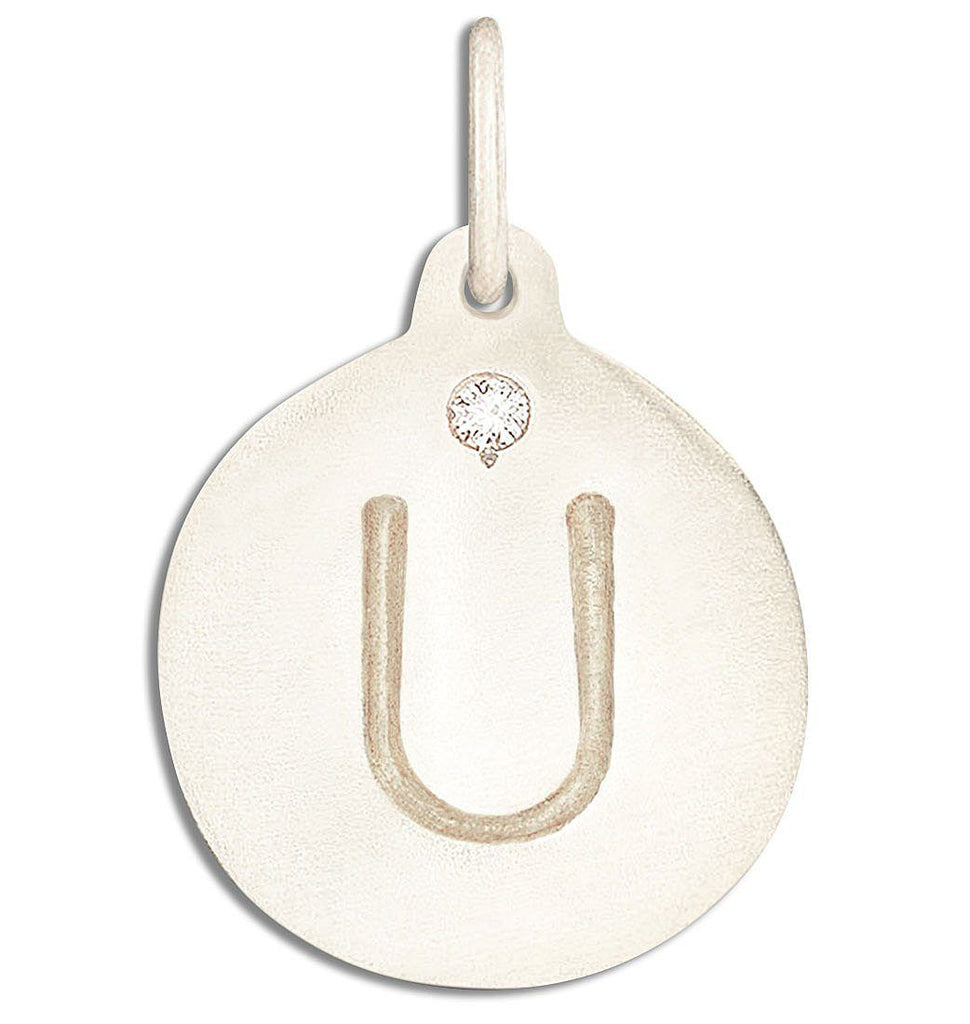 """U"" Alphabet Charm With Diamond - 14k White Gold - Jewelry - Helen Ficalora - 2"