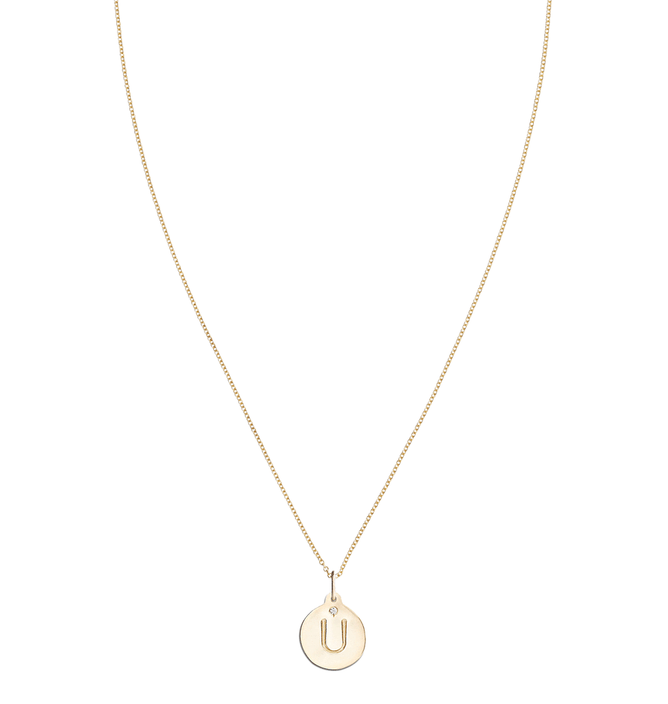 """U"" Alphabet Charm With Diamond -  - Jewelry - Helen Ficalora - 5"